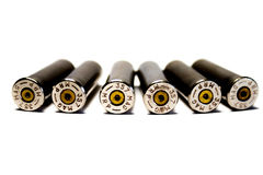 Seis cartucheras encendidas, calibre 357 Botella doble Imagen de archivo libre de regalías