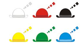 Seis chapéus de pensamento Imagens de Stock Royalty Free