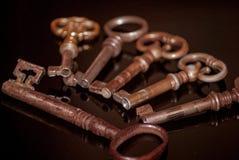 Seis chaves oxidadas velhas Fotos de Stock