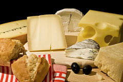 Seis clases de queso Fotografía de archivo libre de regalías