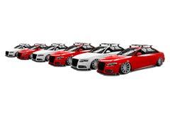 Seis coches modernos aislados coloreados Imagen de archivo