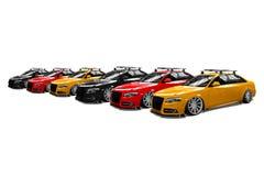 Seis coches modernos aislados coloreados Foto de archivo libre de regalías