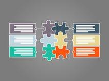 Seis colorido tomaram partido molde infographic da apresentação do enigma do círculo Imagens de Stock