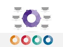 Seis colorido tomaram partido vetor infographic da carta do diagrama da apresentação do enigma Foto de Stock