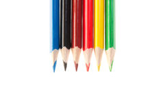 Seis coloriram lápis isolados Fotos de Stock Royalty Free