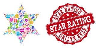 Seis composições de canto da estrela do mosaico e de selo Textured para vendas ilustração do vetor