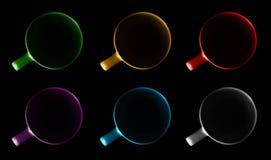Seis copos de cores diferentes fotografia de stock royalty free