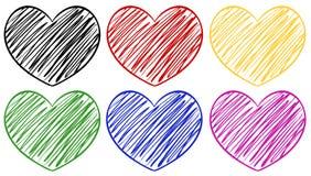 Seis corações em cores diferentes ilustração stock