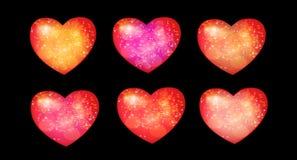 Seis corazones Fotos de archivo libres de regalías