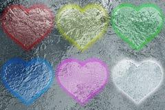 Seis corazones metálicos brillantes Fotografía de archivo