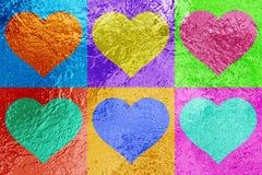 Seis corazones metálicos brillantes del amor Foto de archivo
