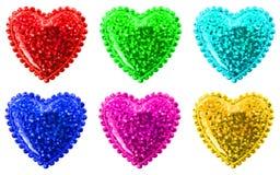 Seis corazones multicolores Fotos de archivo libres de regalías