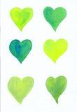 Seis corazones verdes en la pintura blanca de la acuarela Fotografía de archivo