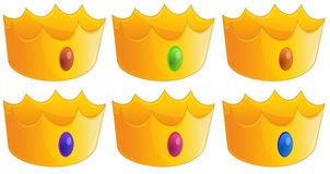 Seis coroas douradas Foto de Stock