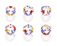 Seis cristales cortan en cuadritos con seis números Foto de archivo libre de regalías