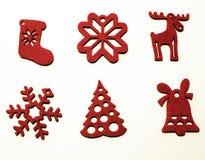 Seis decoraciones para el árbol de navidad Fotografía de archivo