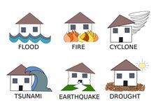Seis desenhos simplistas diferentes do vetor das catástrofes naturais Fotografia de Stock