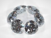 Seis diamantes no fundo branco com brilho Fotos de Stock Royalty Free