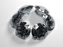 Seis diamantes no fundo branco com cáustico Imagem de Stock Royalty Free