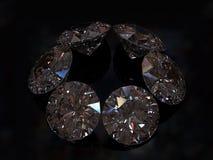 Seis diamantes no fundo escuro Imagem de Stock