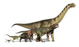 Seis dinosaurios enormes a minúsculo Fotografía de archivo libre de regalías