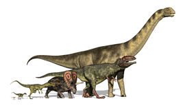 Seis dinossauros enormes a minúsculo Fotografia de Stock Royalty Free