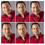 Seis diversas expresiones masculinas Foto de archivo