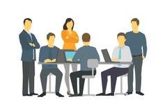 Seis do escritório das pessoas dos trabalhos de equipa executivos da fala da reunião Fotografia de Stock