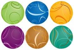 Seis esferas de Swirly ilustração stock