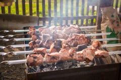 Seis espetos fumam de uma semi-carne na grade Imagens de Stock Royalty Free
