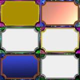 Seis etiquetas metálicas con la grabación en relieve Fotos de archivo libres de regalías