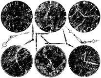 Seis faces do relógio de Grunge ilustração do vetor