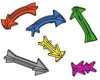 Seis flechas (3d) Ilustración del Vector