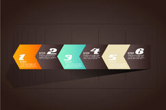 Seis flechas de los pasos de progresión para las presentaciones Imagen de archivo libre de regalías