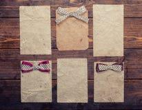 Seis folhas de papel velhas Foto de Stock