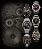 Seis fondos de los relojes para hombre con el espacio de la copia Fotos de archivo libres de regalías
