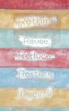 Seis frases ecológicas - repensar-Reutilizar-reducir-resto Imagen de archivo