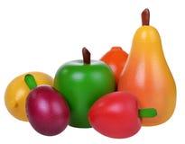 Seis frutas de madera Imagen de archivo libre de regalías