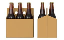 Seis garrafas de cerveja marrons no boxk do cartão Vista lateral e vista dianteira 3D rendem, isolado no fundo branco Fotos de Stock Royalty Free