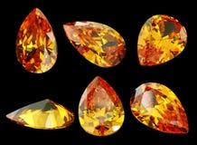 Seis gemas isoladas em um fundo preto Imagens de Stock