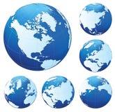 Seis globos azuis ilustração stock