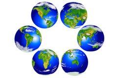 Seis globos continentales Imagenes de archivo
