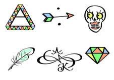 Seis grupos da tatuagem Imagem de Stock Royalty Free