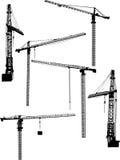 Seis guindastes de construção ilustração royalty free