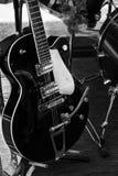 Seis guitarra elétricas preto e branco da corda Imagem de Stock
