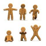Seis hombres de pan de jengibre móviles Fotografía de archivo libre de regalías