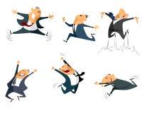 Seis homens de negócios de salto Fotos de Stock