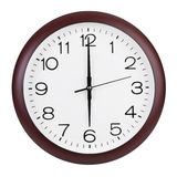 Seis horas en el reloj redondo Fotografía de archivo