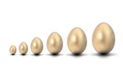 Seis huevos de oro Fotos de archivo libres de regalías