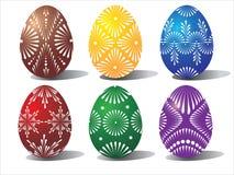 Seis huevos de Pascua coloreados ilustración del vector